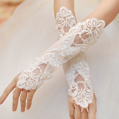 Elegant White Satin Fingerless Gloves with Pearls ~ WEDDING BRIDAL FORMAL PROM