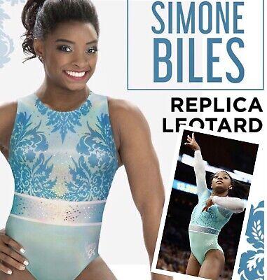 Pink SEQUIN Bling Sz CM Simone Biles GK Elite LEOTARD Gymnastics RAINBOW SWOOSH
