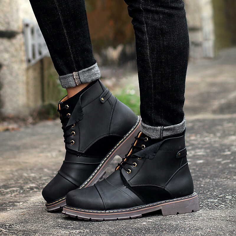 British Retro Mens Leather Quilted Warm Lace Up Military Motorcycle Ankle Boots