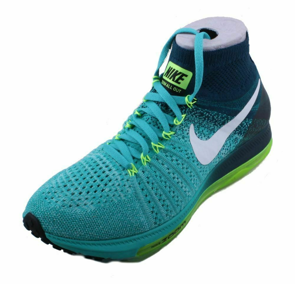 Nike Zoom All Out Flyknit Womens Clear Jade White Turquoise Running Sneakers