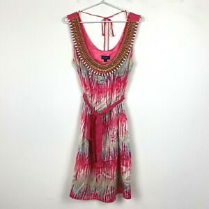 Witchery-Womens-Pink-Sleeveless-Pure-Silk-Dress-with-Tie-Belt-Size-S