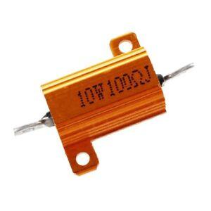 2-Pcs-10Watt-100-Ohm-Gold-Tone-Aluminum-Housed-Clad-Wirewound-Resistor-A5Q8