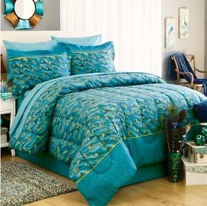 Image Is Loading PEACOCK FEATHERS Teal Blue Green Exotic Bird Bedding