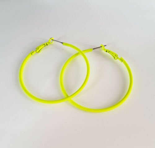 Gorgeous 5cm bright neon yellow small round hoop earrings,