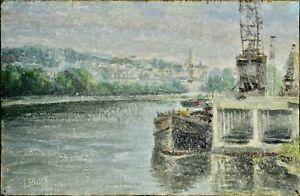 """Tableau ancien, """"Bord de seine à St Cloud."""" Signé L. Boq"""