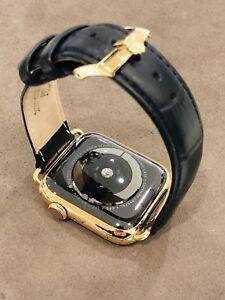 24k Gold Plated 44mm Apple Watch Series 4 Black Alligator Band Rolex Gps Lte 602590065058 Ebay