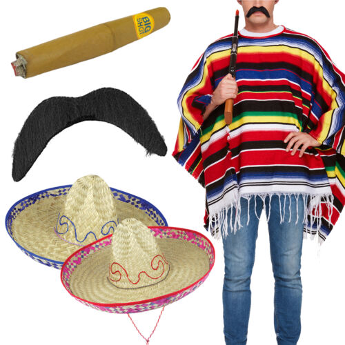 Adult Mexican Poncho Sombrero Stag Night Do Fancy Dress Adult Costume Outfit New