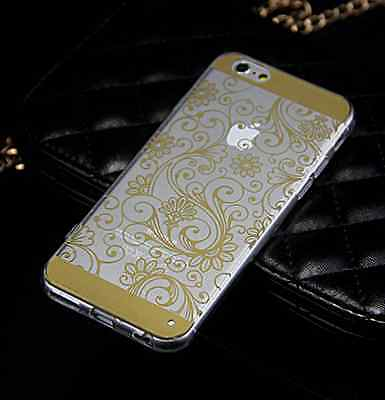 "For iPhone 4 4S 5 5S 6 4.7"" Silicone TPU Soft Vintage Clover Clear Case Cover"