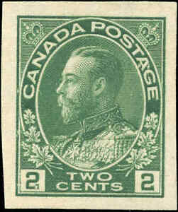 Mint-NG-1924-Canada-2c-VF-IMPERFORATE-Scott-137-King-George-V-Admiral-Stamp