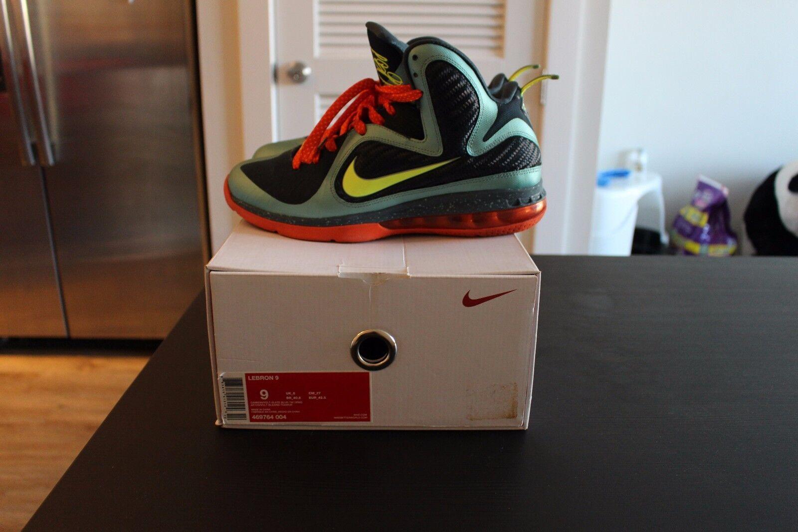 Nike Air Lebron James IX 9 Cannon sz 9 University of Miami Hurricanes heat