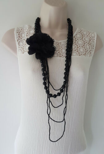 """brooch necklace set Gorgeous 42/"""" long black layered bead /& removeable flower"""