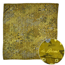 "New BRIONI Deep Gold Klimt Kiss Abstract Silk 39"" Scarf Shawl Wrap Headscarf NIB"
