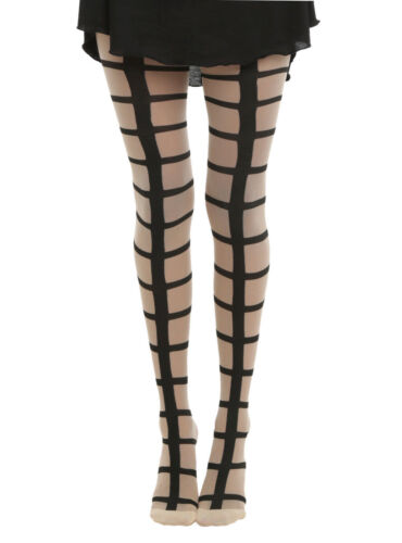 HOT TOPIC  GOTHIC  ROCKER  SHEER NUDE  BIG GRID CAGE FOOTED TIGHTS PANTYHOSE NWT