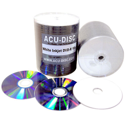 600 Blank ACU-DISC DVD-R 4.7GB 16x White Inkjet Full-Face Scratch Proof