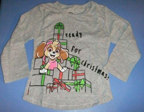 4T NWT Girls PAW PATROL 3T 5T Shirt Long Sleeve READY FOR CHRISTMAS Gray SKYE