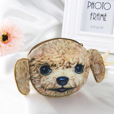3D Cute Cat/Dog Face Zipper Case Coin Purse Wallet Makeup Bag Pouch