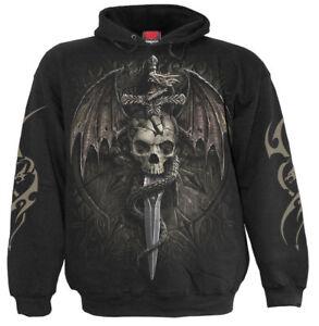 SPIRAL DIRECT DRACO SKULL Hoody//Biker//Skull//Dragon//Mournful//Tattoo//Gift//Pullover