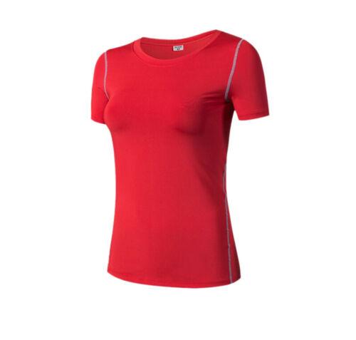 Damen Kurzarm kompressionsshirt Jogging Training Gym Yoga T-shirt Kurze Ärmel