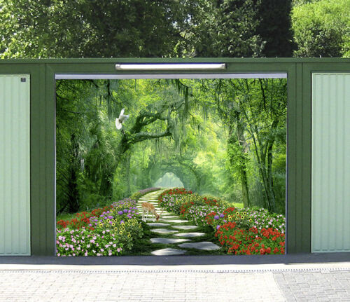 3D Flowers Deer Trees 5 Garage Door Murals Wall Print Wall AJ WALLPAPER UK Lemon