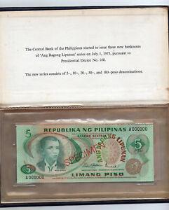 1973 PHILIPPINE 5 10 20 50 100 ABL Piso Specimen Notes set P153-157 UNC BSP Book