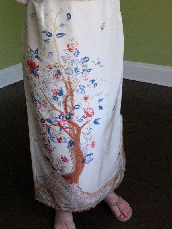 Anthropologie Easel Skirt Painted Silk Tree of Life Tribal India Fur Trim S 6