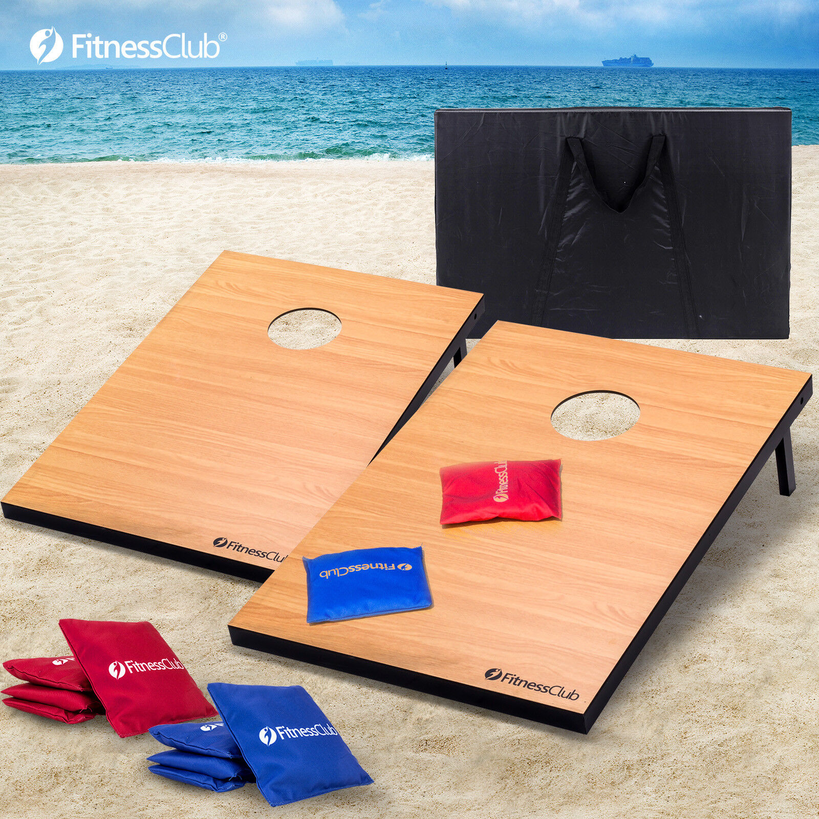 Tailgate Size  Boards CornHole Set Tournament 8 Bean Bag Toss W Carrying Case  quality guaranteed