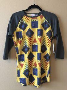 LULAROE-Randy-Shirt-XS-Yellow-Red-Blue-Geometric-Gray-Sleeves-Latin-American-NWT