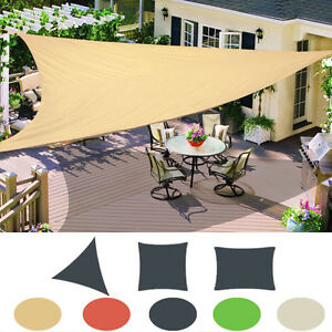 Image is loading Patio-Garden-Sun-Shade-Sail-Canopy-Awning-Sunscreen- & Patio Garden Sun Shade Sail Canopy Awning Sunscreen 98% UV Block 3 ...