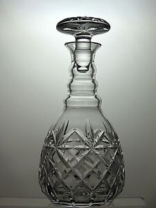 CUT-GLASS-LEAD-CRYSTAL-ROUND-WINE-SHERRY-DECANTER-3-RING-10-1-4-034-TALL