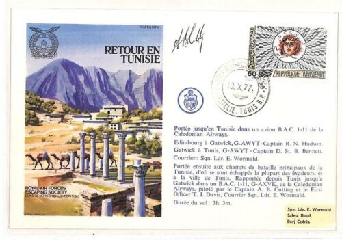AH187 1977 Tunisia RAF Escaping Society Signed Cover PTS