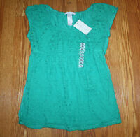 Womens Lizwear Green Lace Front Shirt Size S Small