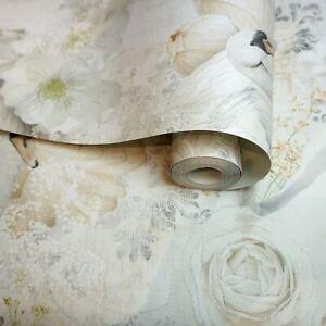 Holden-Decor-Paillette-Cygnes-Papier-Peint-Vintage-Floral-90701-Beige