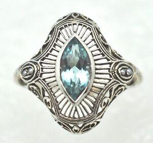 Art-Deco-Anillo-Topacio-Azul-Saat-Perlas-Plata-de-Ley-925-Gr-52
