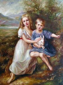 CHOP614 little boy and girl playing beach hand painted oil painting canvas art