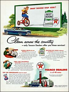 1955 Girl tricycle Texaco dealers gas oil car service vintage art print ad adl78