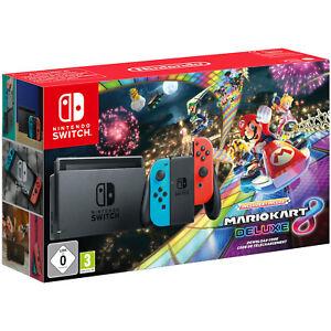 NINTENDO Switch Mario Kart 8 Deluxe Bundle Spielekonsole, Grau, Neon-Rot, Neon-B
