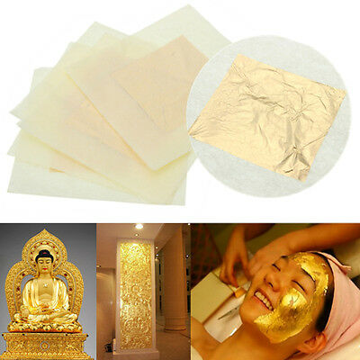 5pcs Feuilles d' or 24K Carats Veritable Gold Leaf Sheets Paper Pr Dorure 3x3cm