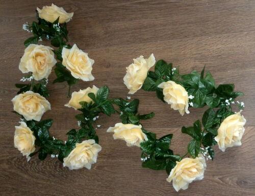 Rosengirlande vanille ca.250 cm  Blüte ca. 12 cm Kunstblumen -Seidenblumen