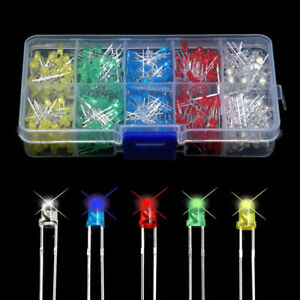 New-500Pcs-3mm-LED-Light-White-Yellow-Red-Blue-Green-Assortment-Diodes-DIY-Kit