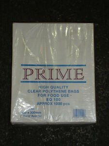 "1000 x Polythene Bag Clear (10x12"") (100g) DISPOSABLE POLY BAGS FOOD BAG (9212)"