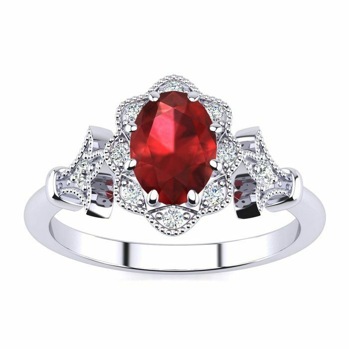14 Karat gold 1 1 4Ct Oval Shape Ruby and Halo Diamond Vintage Ring in 3 colors