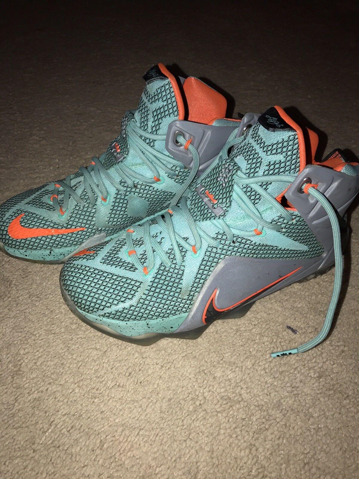 Nike lebron james xii 12 8 scarpe arancione grigio 684593-301 turchese