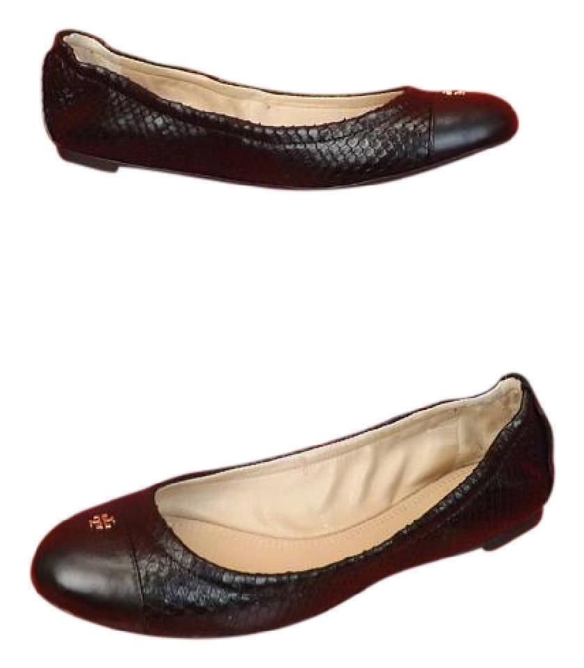 Nuevo En Caja Caja Caja Tory Burch Negro Cuero Estampado De Serpiente oro Reva York Ballet Zapatos sin Taco Sin 9  Precio al por mayor y calidad confiable.