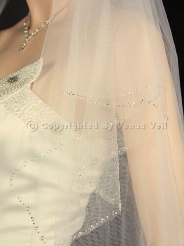 2T Ivory Bridal Fingertip Length Silver Beaded Edge Wedding Veil