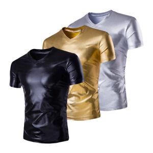 Men Metallic PVC Leather Wet Look T-shirt Top Tee Underwear Party Dance Clubwear