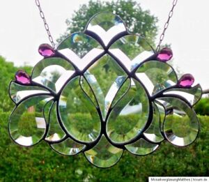 Bleiverglasung-Bleiglas-Facetten-Fensterbild-034-Diadem-034-in-Tiffany