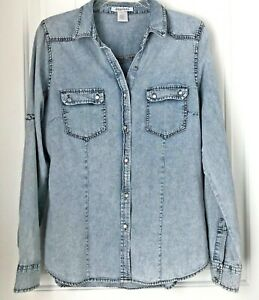 Dizzy-Lizzy-Womens-L-Acid-Washed-Jean-dress-shirt-top-Snap-buttons-Long-Sleeve