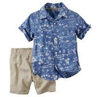 NWT Boys 24m 24 MONTHS CARTER'S 2pc Button Front Shirt & Shorts Set CUTE ~ L@@K!