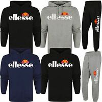 Ellesse New Mens Logo Cotton Jogging Suit Hoodie Hooded Top Bottoms Tracksuit