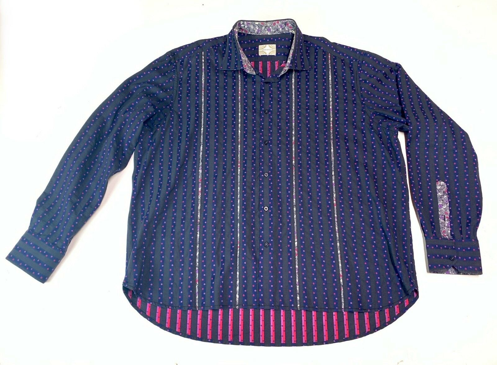 Awesome Brandolini 3XL  Textured  Dark bluee Striped Long Sleeve Button Up Shirt